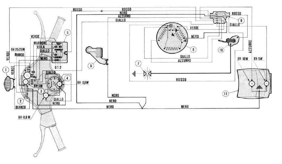 Schema Elettrico Frecce : Impianto elettrico vespa px senza frecce
